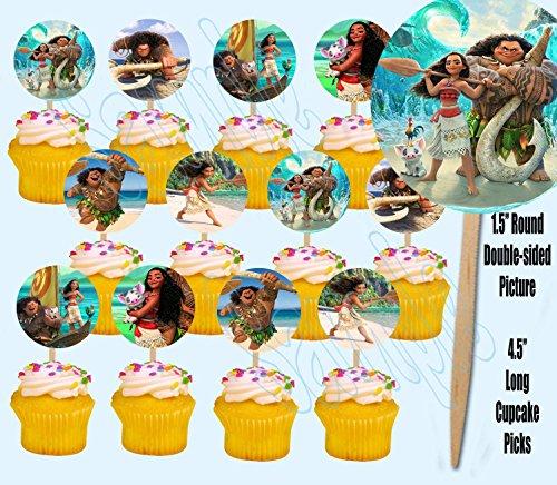 Moana Maui Hawaiian Disney Movie Double-Sided Cupcake Picks Cake Toppers -12 - Maui Cup