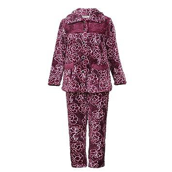 HXQ Conjunto de Pijama de Franela de manga larga 100% algodón para Mujer , purple