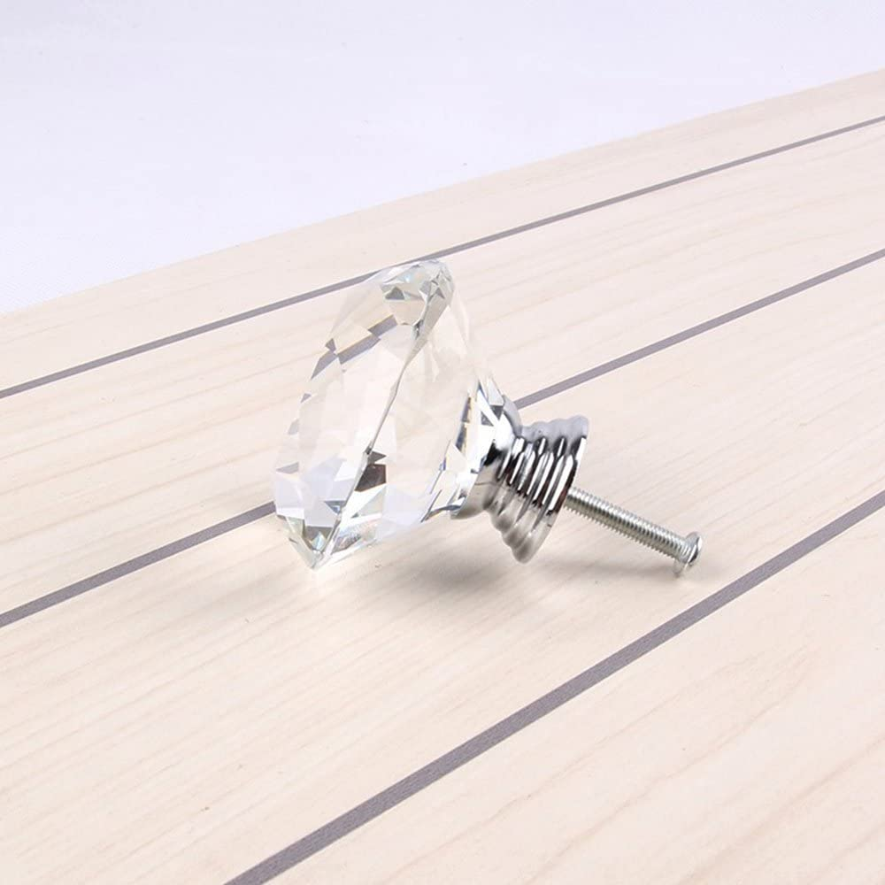 16PCS 40mm Clear Crystal Door Knobs Diamond Glass Pull Handle Drawer Cabinet Cupboard Furniture Kitchen with Screw