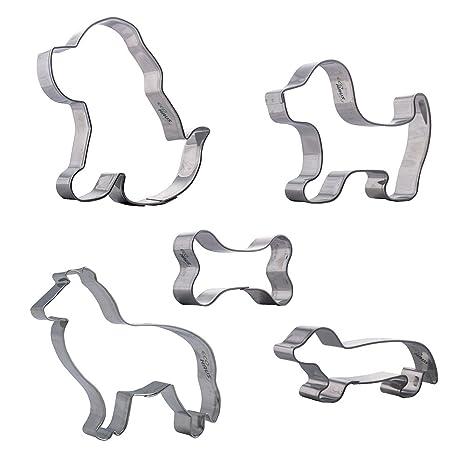 Eco Haus Living - Moldes Galletas Perro - 5 piezas Cortador Galletas cachorro labrador dachshund collie