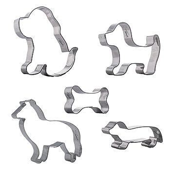 Cortadores de galletas perro - 5 piezas cachorro collie labrador perro salchicha - acero inoxidable - ideal para pasteles frutas y sándwiches: Amazon.es: ...