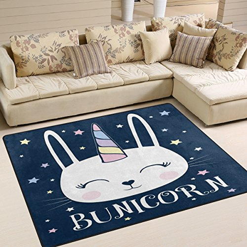 - ALAZA Funny Unicorn Bunny Rabbit Star Blue Area Rug Rugs for Living Room Bedroom 7' x 5'