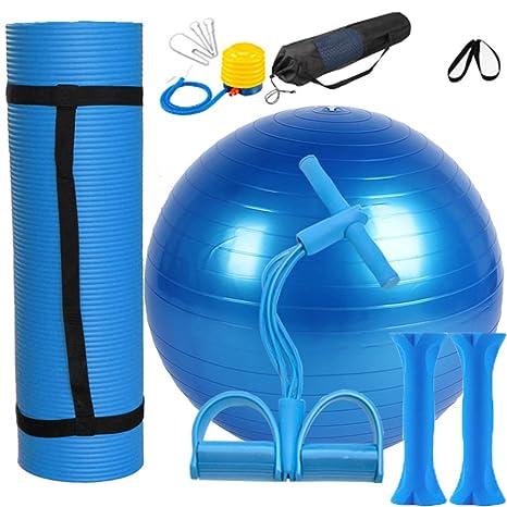 Yoga Juego Azul 1 Yoga estera de NBR, 1 pelota de yoga de PVC,