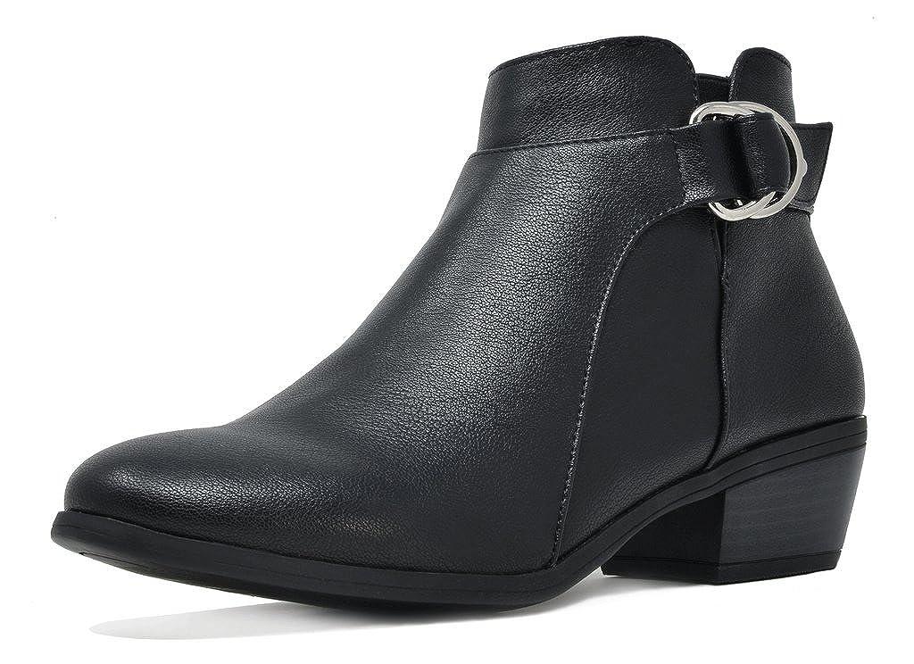 03-BLACK PU TOETOS Women's Cowboy Block Heel Side Zipper Ankle Booties