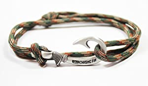 Chasing Fin Adjustable Bracelet 550 Military Paracord with Fish Hook Pendant