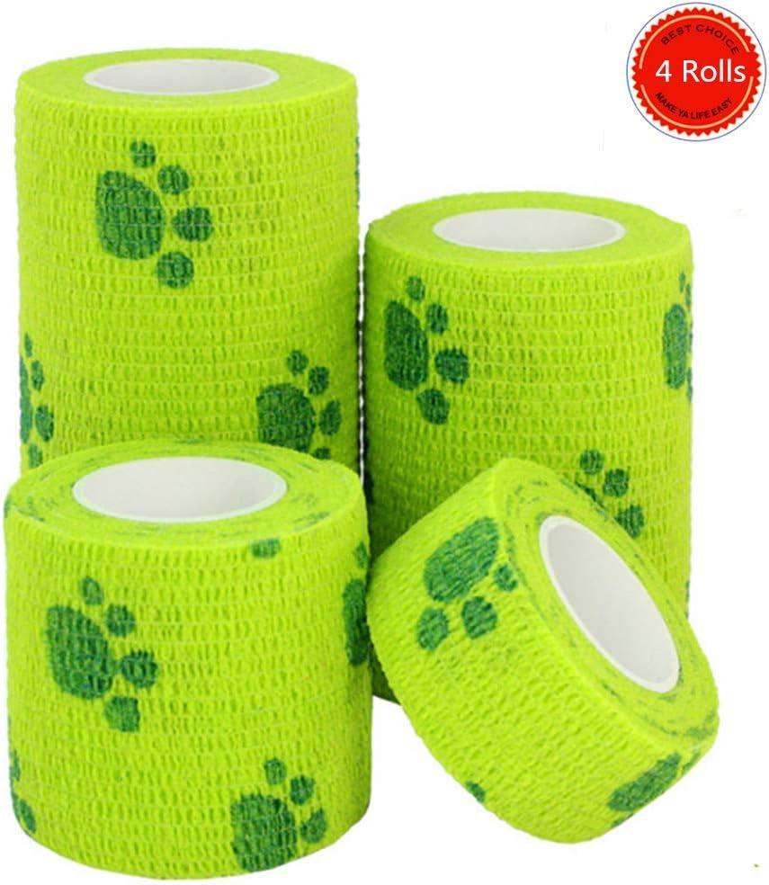Cooliya 4 rollos elásticos no tejidos para mascotas vendaje autoadhesivo primeros auxilios médico envolver para perro, gato, caballo