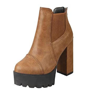 deb20b23b1275 Tenworld Platform Chunky Ankle Bootie, Women's Faux Leather High Heel Boot  (6.5, Brown)