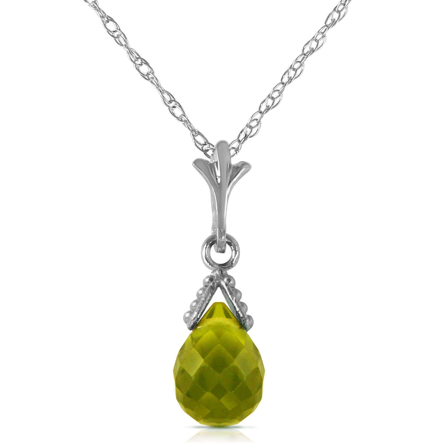 ALARRI 2.1 Carat 14K Solid White Gold Midst Of Memory Peridot Necklace with 18 Inch Chain Length