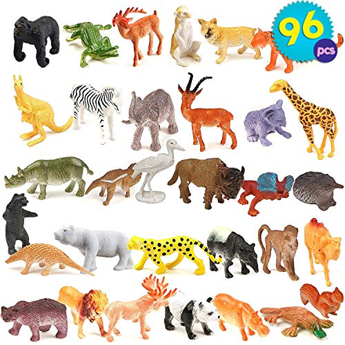THE TWIDDLERS 96 Pcs Mini Toy Animals for Kids | Realistic Vinyl Plastic Zoo Animal Figure for Kids Birthday Favors | Party Favors Goody Bag Filler | Classroom Prize & Rewars | Pinata Stuffing