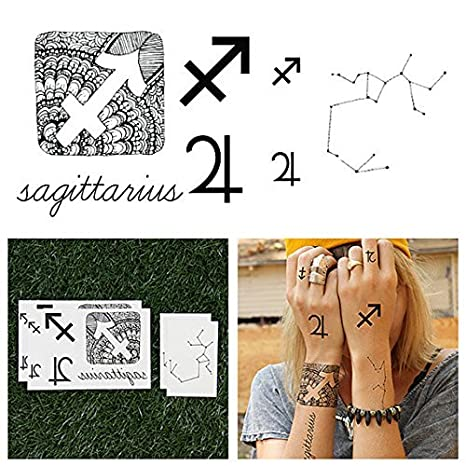 Tatuajes Temporales Tattify - Astrología - Sagitario (juego de 14 ...