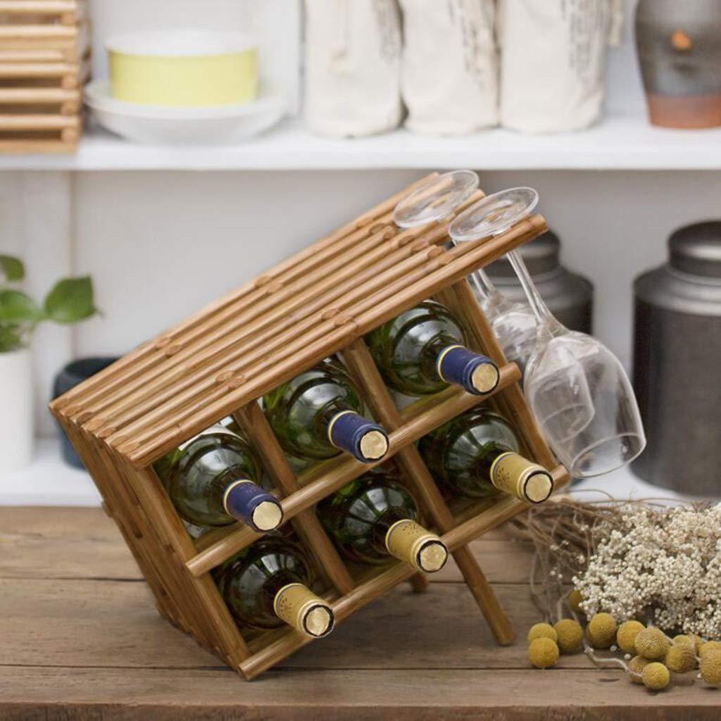 genuina alta calidad 6bottles JiuErDP Estante Estante Estante del Vino de Madera sólida Creativo Simple Sala de Estar Estante del Vino Europeo Estantería de Vino (Talla   6bottles)  solo cómpralo