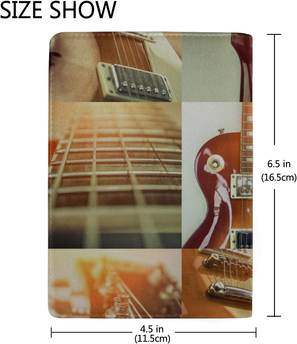 Electric Guitar Surrounded By Lightning Blocking Print Passport Holder Cover Case Travel Luggage Passport Wallet Card Holder Made With Leather For Men Women Kids Family