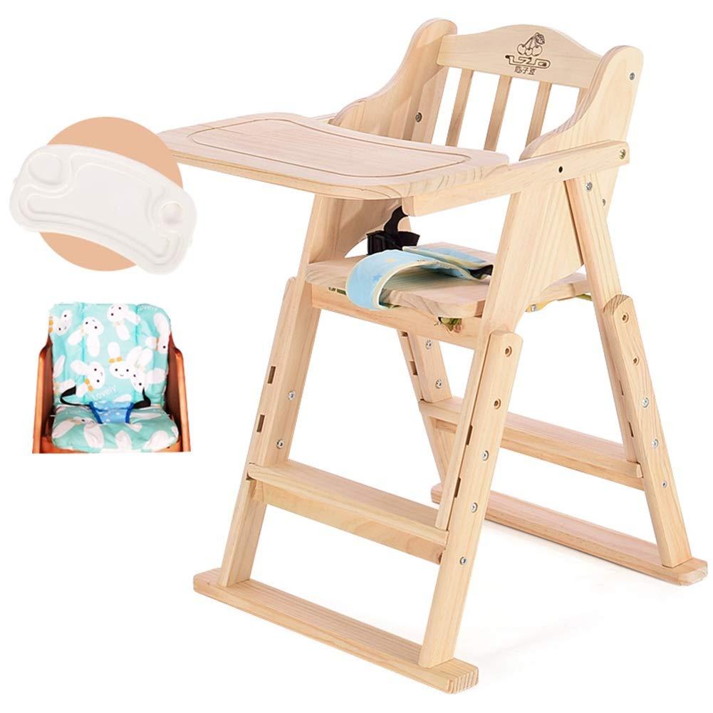LXLA - クッション付き木製ハイチェア - 調節可能な折りたたみ式ベビーハイチェア、赤ちゃんや幼児向け、またはダイニングチェアとして(無塗装) (Color : Package 2)  Package 2 B07V1HJNC7