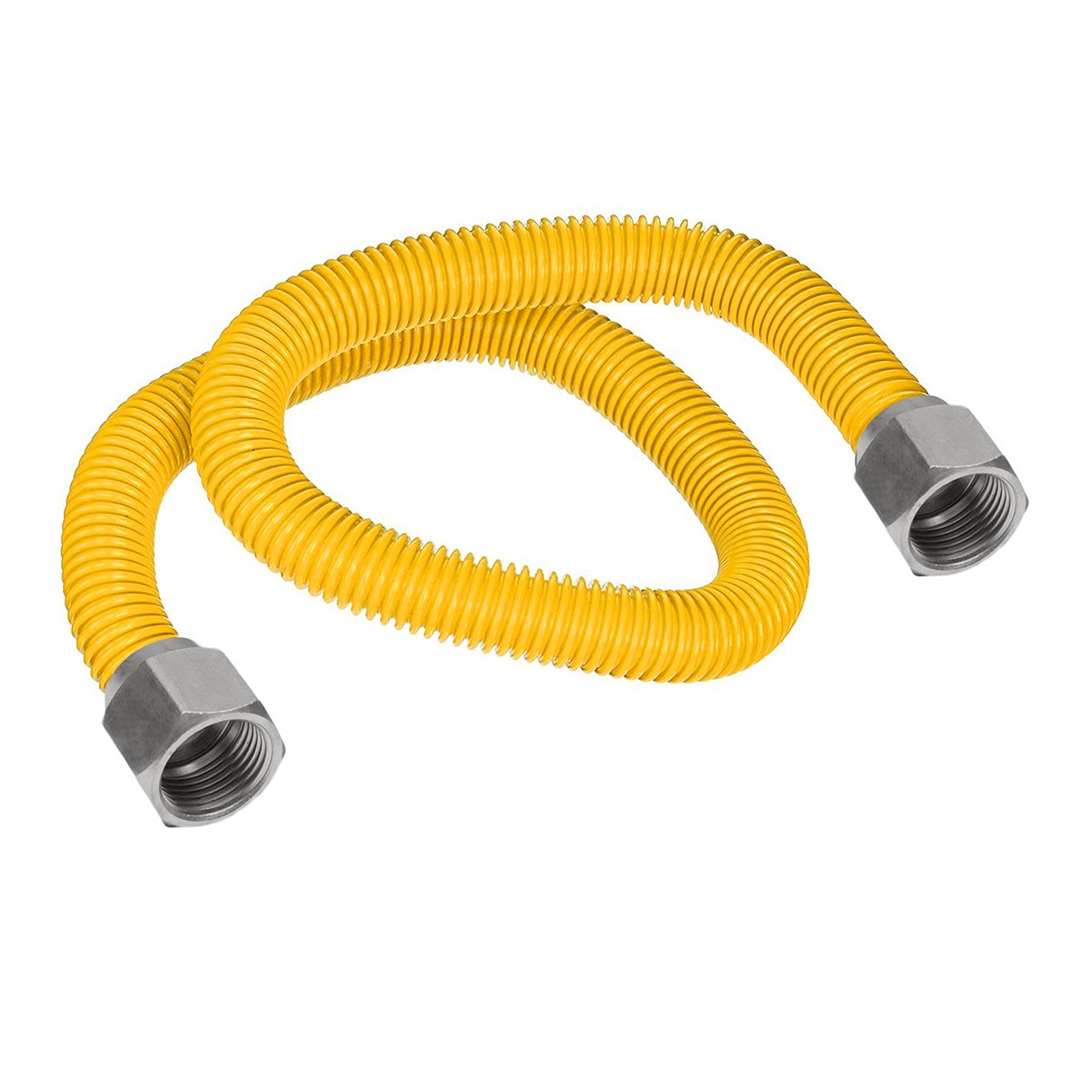 Flextron FTGC-YC12-24 22'' Flexible Epoxy Coated Gas Line Connector with 5/8'' Outer Diameter and Nut Fittings, Yellow/Stainless Steel