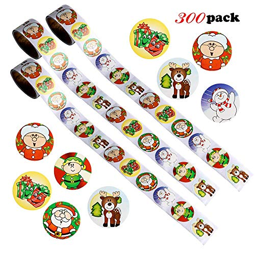 Konsait 300 Count Christmas Roll Stickers Winter Holiday Scrapbooking Card Envelopes Stocking Stickers 1.5