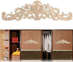 1Pc Wood Carved Applique,Long Onlay Wooden Appliques for Furniture Door Cabinet Unpainted Frame Corner Applique DIY Woodcarving Decoration(30x8.5cm)