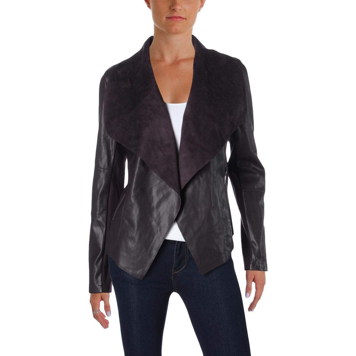 Deep Merlot Bar III Womens Faux Leather Open Front Jacket
