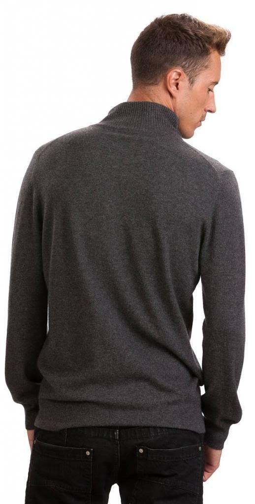 Men's Zip Cardigan - 100% Cashmere - by Citizen Cashmere, Dk Gr XL 42 103-09-04 by Citizen Cashmere (Image #4)