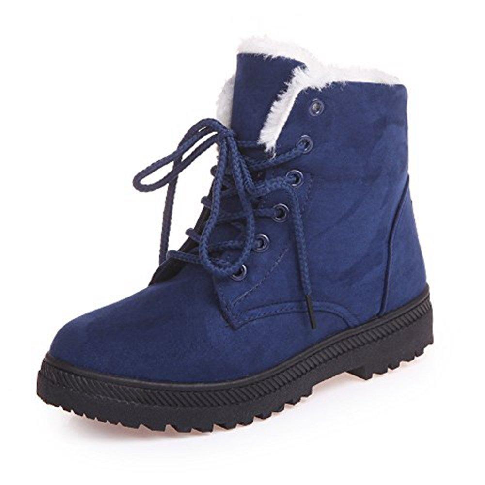 Xiakolaka Women's Fleece Lined Suede Platform Lace Up Winter Boots Blue US8