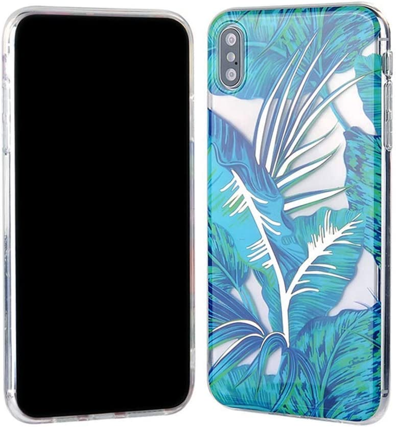 Transparent Paillettes Fleur Feuilles Motif Coque Ultra Mince Silicone TPU Souple Gel Bumper Clear Antichoc Housse /Étui de Protection,#1 QPOLLY Compatible avec iPhone X//XS Coque Brillante