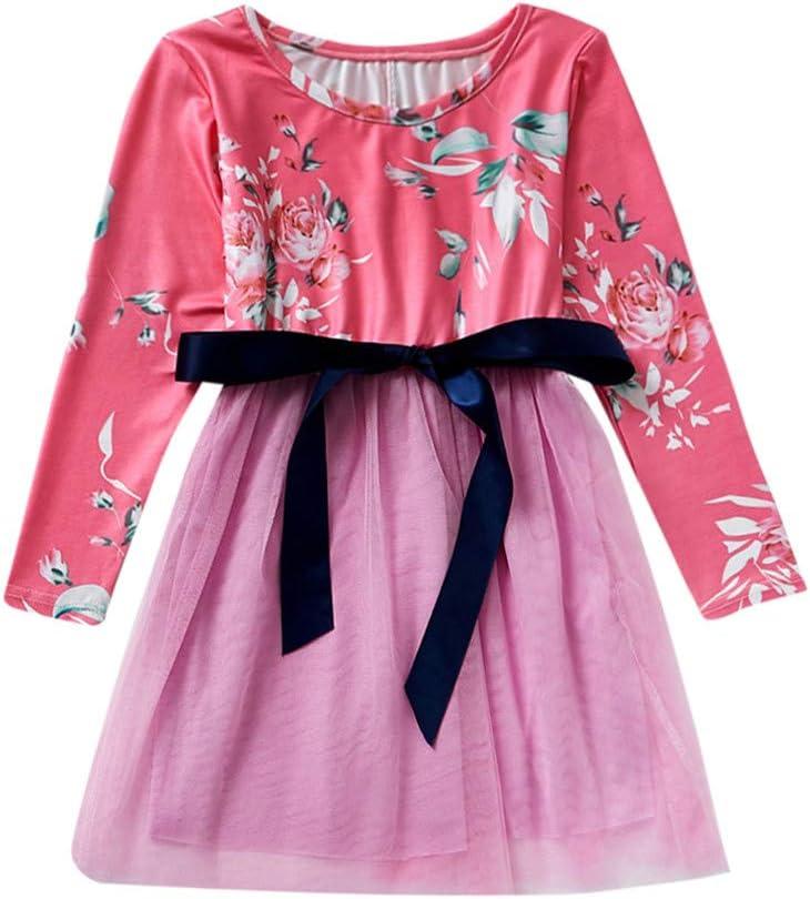 Pingtr - Vestido de princesa para niña, manga larga, cuello en O, estampado floral Rosa. Talla:6-7 Jahre: Amazon.es: Bebé