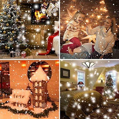 LED Snowfall Light Remote Control Christmas Snow Falling Night Projector Lights White Snowflake Flurries Rotating Spotlight Outdoor Indoor Landscape Decorative Lighting (Style B) by Asunflower (Image #9)