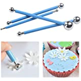 CCINEE 4 Pieces Blue Metal Ball Cake Decorating Tool for Sugar Paste Ball Flower Sculpting