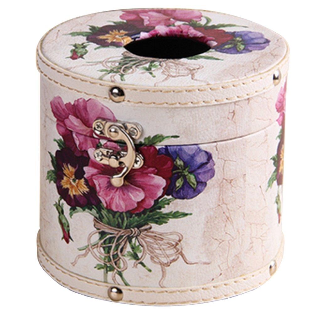 Yingte Roll Paper Tissue Box,Circular Paper Tin Storage Box