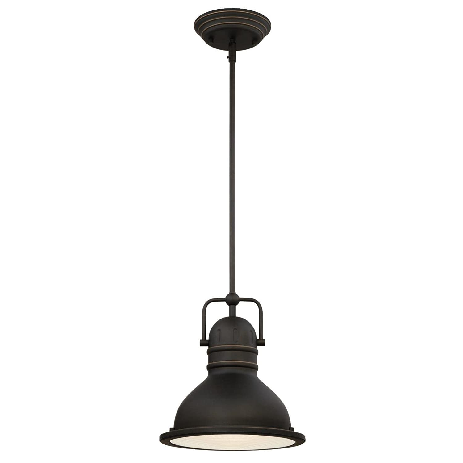 Westinghouse Lighting 63087B Boswell One-Light LED Indoor Pendant, Oil Rubbed Bronze Finish with Highlights and Frosted Prismatic Lens