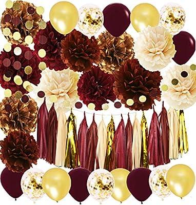Wine Burgundy Champagne Gold Bridal Shower Decorations/Fall Wedding Decorations Big Size Burgundy Tssue Pom Pom Tassel Garland Maroon Gold Ballons Burgundy Wedding/Birthday Party Decorations