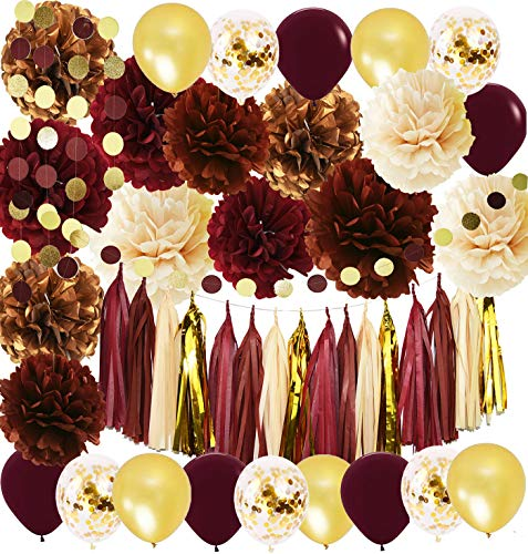 Fall Party Decorations (Wine Burgundy Champagne Gold Bridal Shower Decorations/Fall Wedding Decorations Big Size Burgundy Tissue Pom Pom Maroon Gold Balloons Burgundy Wedding/Women 30th/50th Birthday Party)
