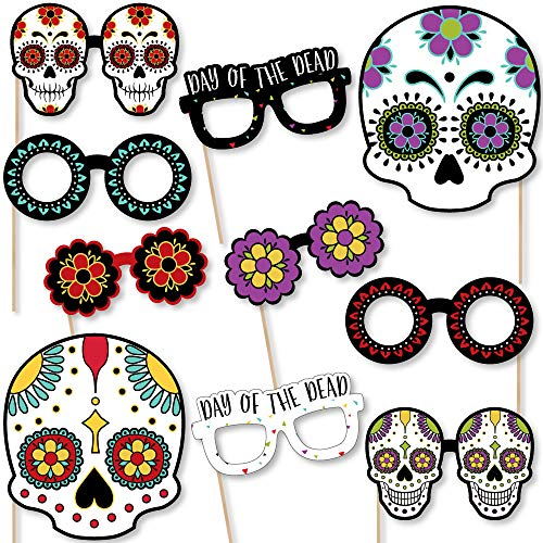 Day of The Dead Glasses and Masks - Paper Card Stock Halloween Sugar Skull Party Photo Booth Props Kit - 10 Count -