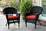 Jeco W00206-C_2-FS018-CS Wicker Chair with Red Cushion, Set of 2, White/W00206-