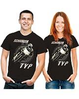 T-shirt humoristique inscriptions en oblique type noir