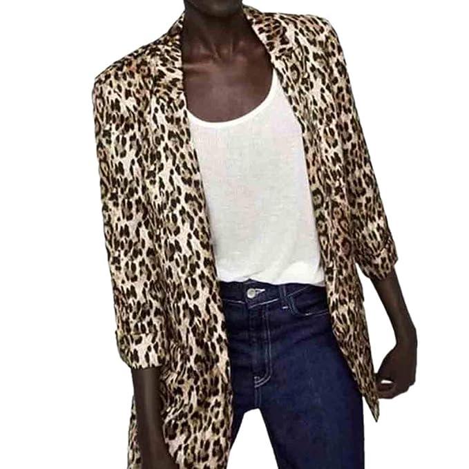 a2a99cf8c1cef Blazer Long Imprimé Léopard Femme Slim,Overdose Soldes Hiver Veste Casual  Workwear Chic Suit Jacket