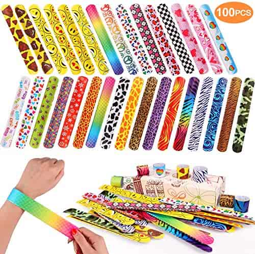 100 PCS Slap Bracelets Party Favors with Colorful Hearts Emoji Animal Print Design Retro Slap Bands for Kids Adults Birthday Classroom Gifts