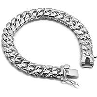 Dankadi Fashion Men's 925 Sterling Silver Bracelet-Original Silver Classic 10mm Cuban Chain 7-8-9 Charm Jewelry Party…