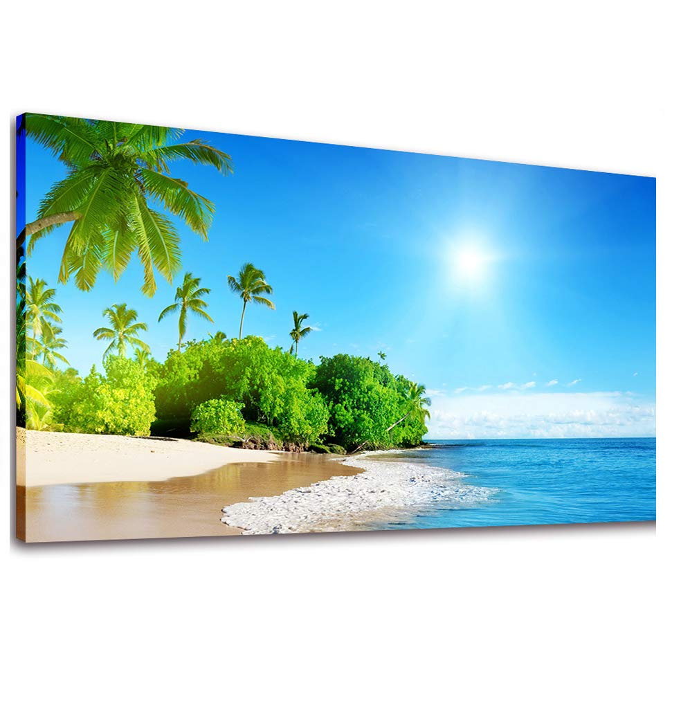 Canvas wall art beach palm tree canvas art prints long canvas artwork seascape ocean contemporary nature picture framed for home office wall decor