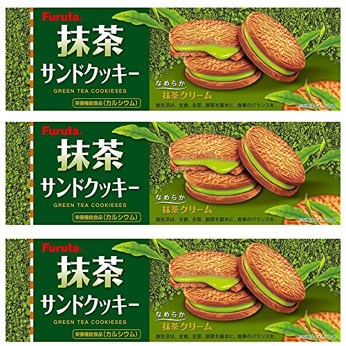 Matcha Cream Sandwich Cookies 3.1oz 3pcs Set Green Tea Cookieses Furuta Ninjapo