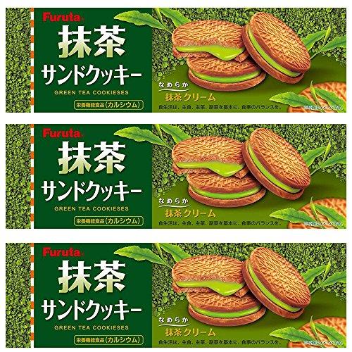 Matcha Cream Sandwich Cookies 3.1oz 3pcs Set Green Tea Cookieses Furuta -