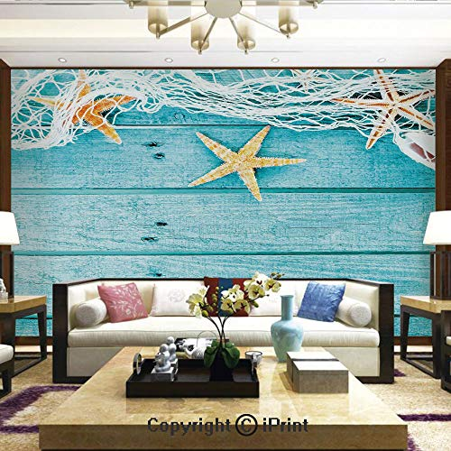 Lionpapa_mural Wall Decoration Designs for Bedroom,Kitchen,Self-AdhesiveRustic Wood Boards Fishing Net and Ocean Animals Nautical Print Decorative,Home Decor - 100x144 inches