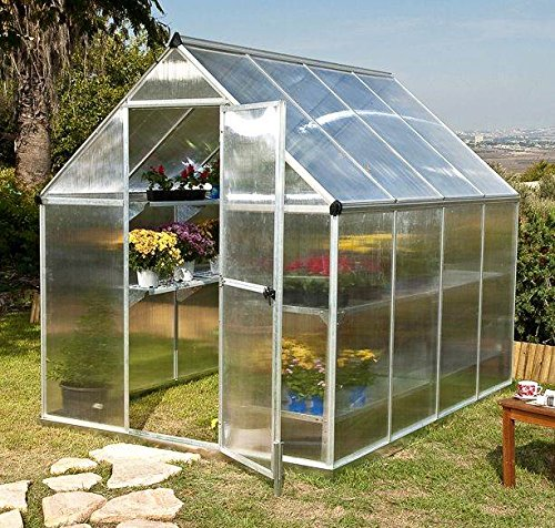 Palram Nature Series Mythos Hobby Greenhouse – 6′ x 8′ x 7′- Silver