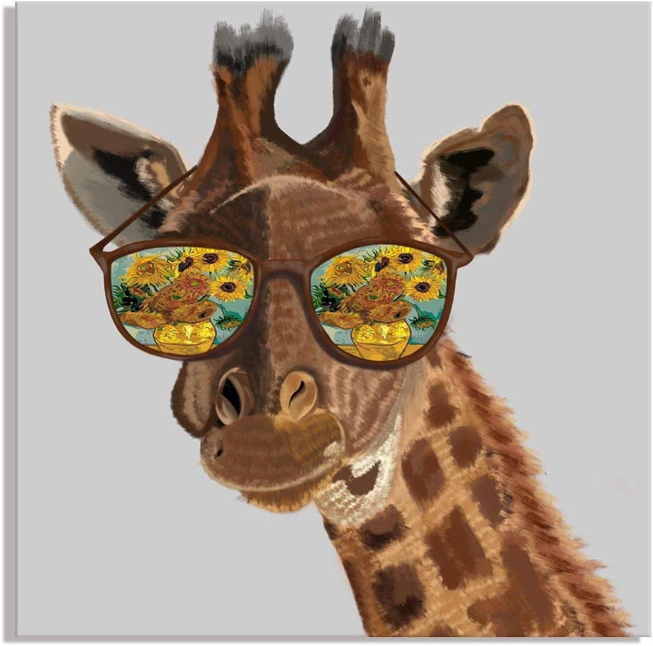 Visual Art Decor Funny Animals Canvas Prints Wall Art Giraffe with Vincent Van GoghSunflowers Painting in Sunglasses Picture for Modern Home Wall Decoration (03 Giraffe)
