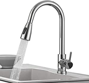 KEBAO Single Handle High Arc Brushed Nickel Pull out Kitchen Faucet,Single Level Kitchen Sink Faucets with Pull down Sprayer (Chrome)