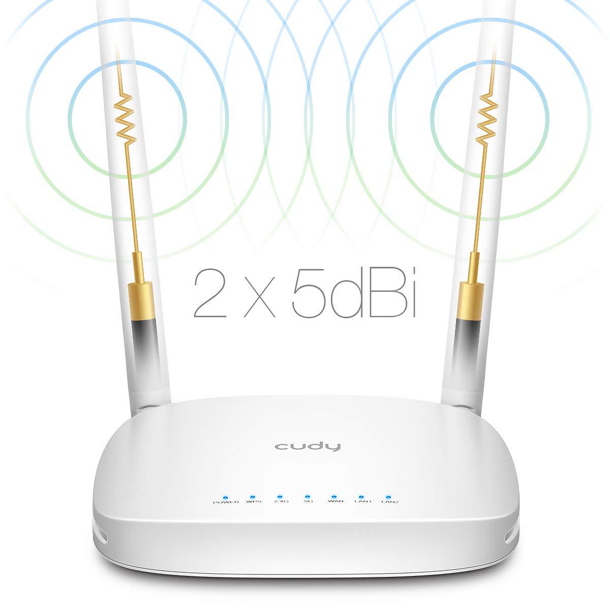 5 GHz Cudy WR1000 Double Bande WiFi AC + 867 Mbit//s R/ép/éteur Mode VPN Passthrough 2,4 GHz N Routeur pour Connexion /à Un Modem c/âbl/é//DSL//Fibre Optique 300 Mbit//s