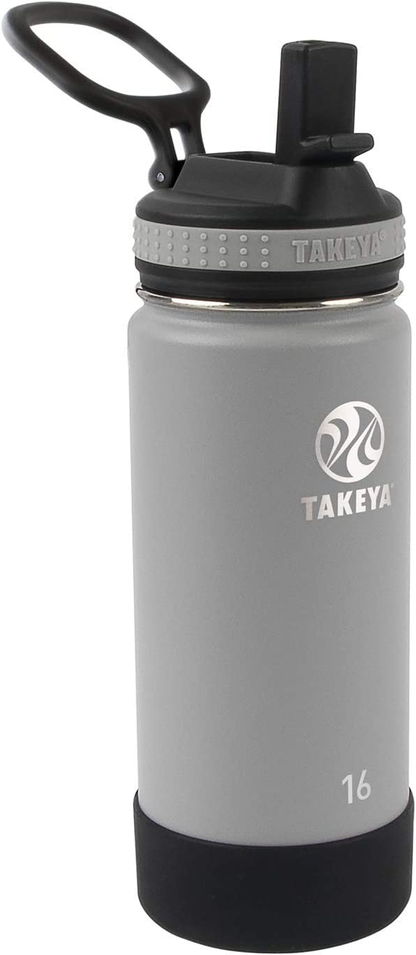 Takeya Kids Insulated Water Bottle w/Straw Lid, 16 Ounces, Platinum/Onyx