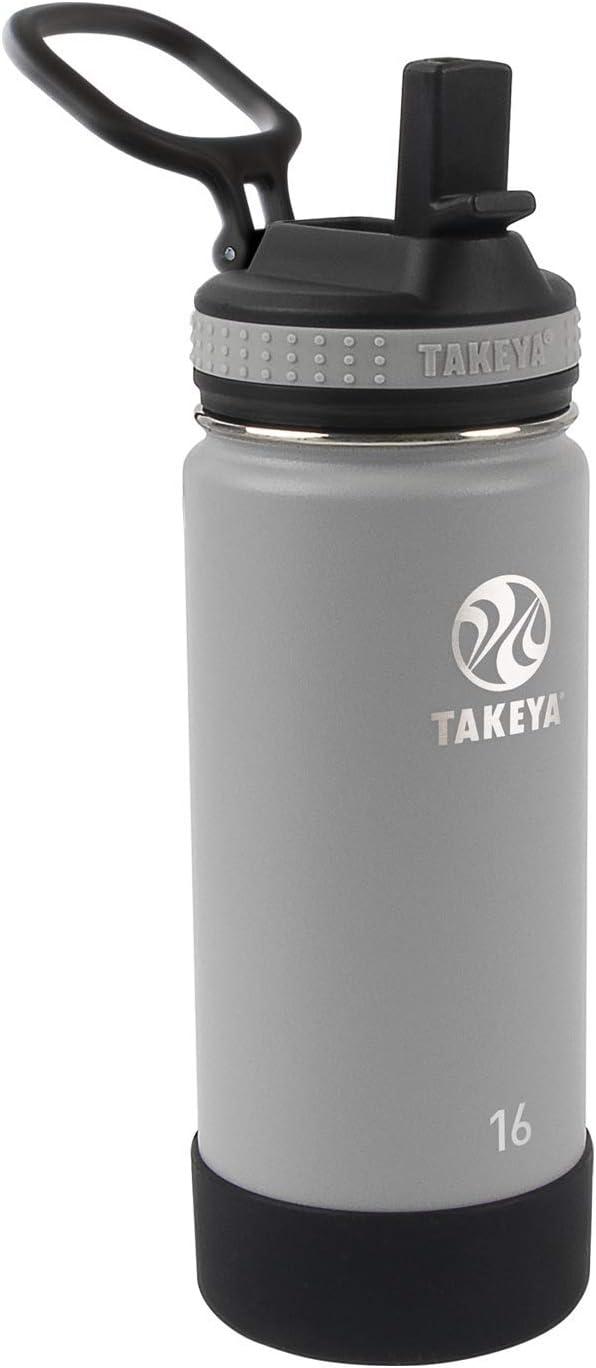 Takeya Kids Insulated Water Bottle w/Straw Lid, 16 Ounces, Platinum/Onyx