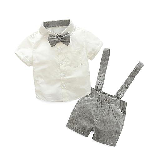 a3beffed1695 Toddler Baby Boy Suspender Short Set Bow T-Shirt+Pants Gentle Suit Short  Sleeve