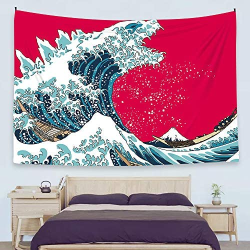 Ofat Home Japanese Hokusai Creative Godzilla The Great Wave Painting Artistic Tapestry Wall Hanging, Wonderful Nature Scenic, Fiber Fabric Home Wall Decor Poster, 59 x78.7