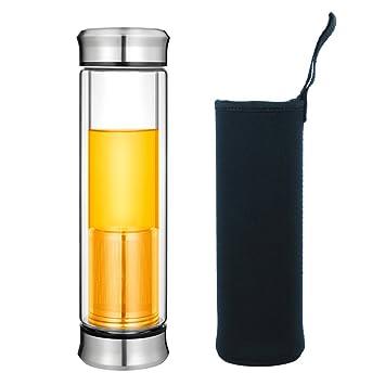Botella Cristal Té Vidrio Agua Infusión Tetera Té Viajera Bpa free Frutas Infusiones Filtro Tea Maker Bottle Infuser Teteras Émbolo Tetera Infusor ...